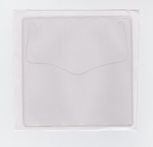 "VINYL SLEEVE WITH ADHESIVE BACK - OPEN ON SHORT SIDE (PORTRAIT) - EXTERNAL DIMENSIONS: 1.25"" x 1.25"""
